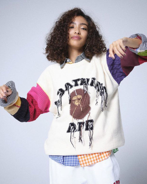 A BATHING APE Ladies' COLLEGE PATCHWORK KNIT