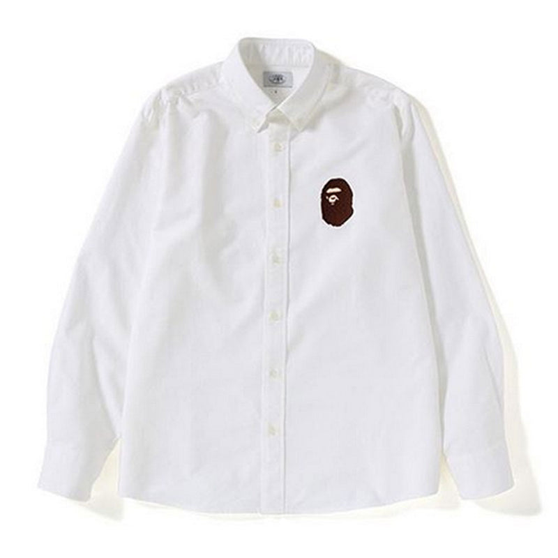 A BATHING APE RELAXED LARGE APE HEAD OXFORD SHIRT