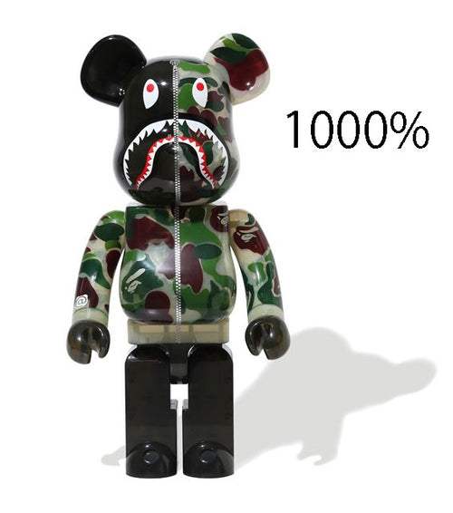 A BATHING APE CLEAR ABC CAMO SHARK BE@RBRICK BEARBRICK 1000% GREEN