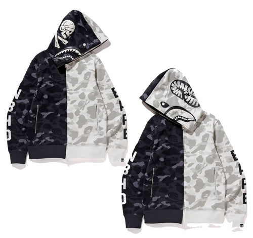 A BATHING APE x NEIGHBORHOOD BAPE NBHD CAMO SHARK FULL ZIP HOODIE - happyjagabee store