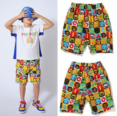 A BATHING APE BAPE KIDS MILO FRIENDS BLOCK BEACH SHORTS