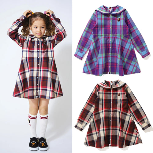 A BATHING APE BAPE KIDS BAPE CHECK SAILOR COLLAR ONEPIECE