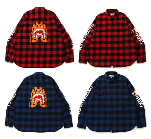 A BATHING APE BLOCK CHECK TIGER FLANNEL RELAXED SHIRT