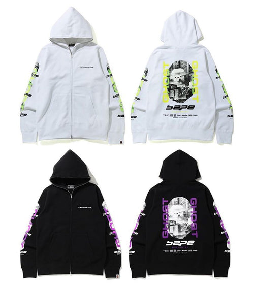 A BATHING APE BAPE GHOST FULL ZIP HOODIE - happyjagabee store
