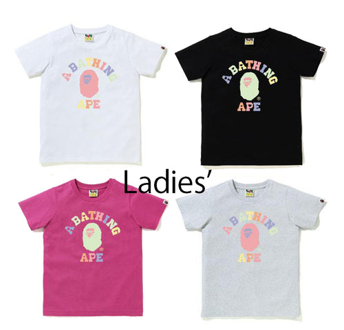 A BATHING APE Ladies' MULTI COLOR HEART COLLEGE TEE