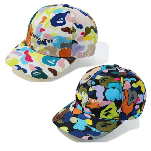 A BATHING APE MULTI CAMO EMBROIDERY PANEL CAP