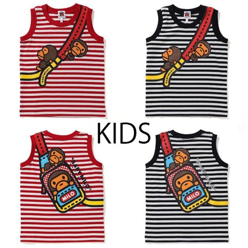 A BATHING APE BAPE KIDS MILO SHOULDER PRINT TANK TOP