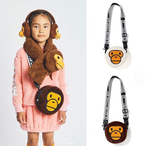 A BATHING APE KIDS BABY MILO FUR SHOULDER BAG