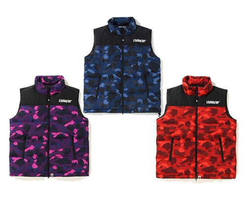 A BATHING APE COLOR CAMO DOWN VEST