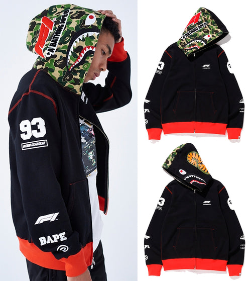 A BATHING APE × Formula 1 COLLECTION F1 BAPE SHARK FULL ZIP HOODIE - happyjagabee store