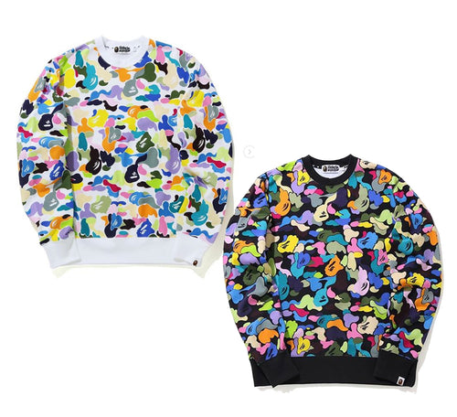 A BATHING APE MULTI CAMO WIDE CREWNECK