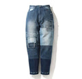 A BATHING APE LADIES' PATCHWORK HIGH WAIST TAPERED DENIM PANTS - happyjagabee store