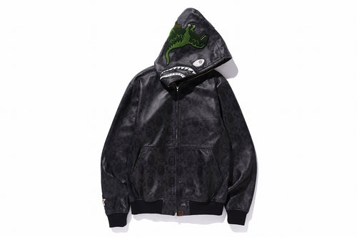 BAPE x COACH LEATHER SHARK HOODIE JACKET - happyjagabee store