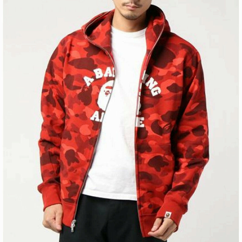 ONLINE EXCLUSIVE A BATHING APE COLOR CAMO COLLEGE FULL ZIP HOODIE - happyjagabee store