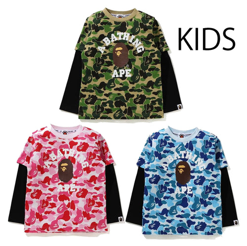 A BATHING APE BAPE KIDS ABC CAMO COLLEGE LAYERED L/S TEE