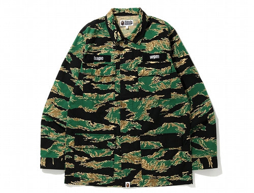 A BATHING APE TIGER CAMO MILITARY SHIRT