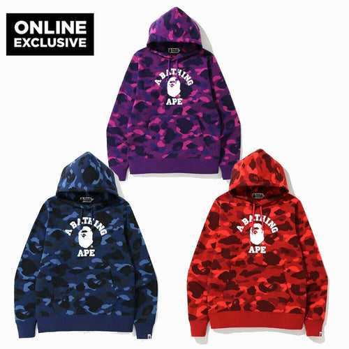 ONLINE EXCLUSIVE A BATHING APE COLOR CAMO COLLEGE PULLOVER HOODIE