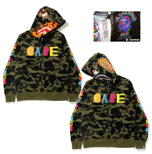 A BATHING APE BAPE x READYMADE TIGER SHARK WIDE FULL ZIP HOODIE