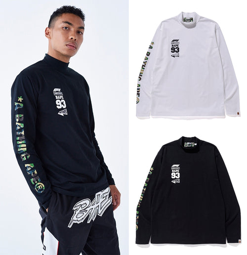 A BATHING APE × Formula 1 COLLECTION F1 BAPE MOCK NECK LONG SLEEVE TEE - happyjagabee store