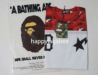 * A BATHING APE Men/'s x BLACK SCALE CAMO LONG SLEEVE TEE Red L//XL Japan New