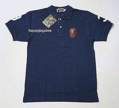 A BATHING APE Men's LARGE APE HEAD POLO Shirts - happyjagabee store