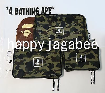 A BATHING APE TRAVEL COLLECTION 1ST CAMO TRAVEL POUCH 3 Sets - happyjagabee store