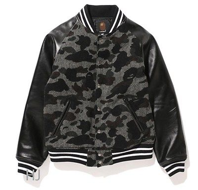 A BATHING APE MEN'S Mr. BATHING APE 1ST CAMO TWEED VARSITY JACKET - happyjagabee store