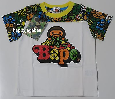 A BATHING APE BAPE KIDS MILO ALL ISLAND FOOTBALL S/S TEE - happyjagabee store