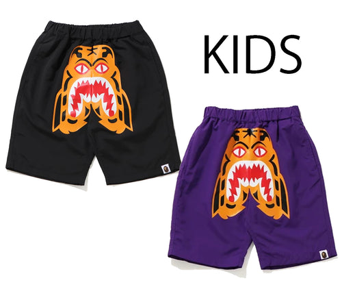 A BATHING APE BAPE KIDS TIGER BEACH SHORTS