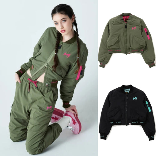 A BATHING APE Ladies' CROPPED BOMBER JACKET