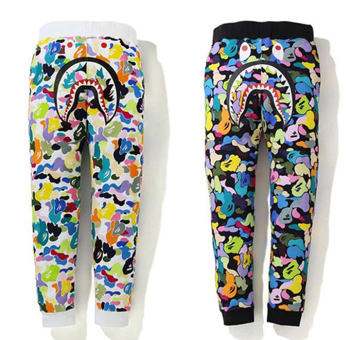 A BATHING APE MULTI CAMO SHARK SLIM SWEAT PANTS