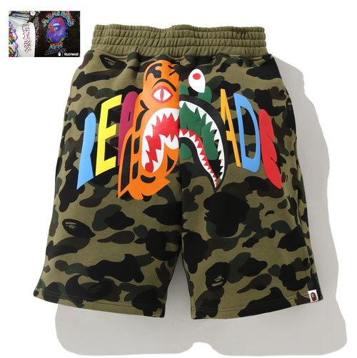 A BATHING APE BAPE x READYMADE TIGER SHARK WIDE SWEAT SHORTS
