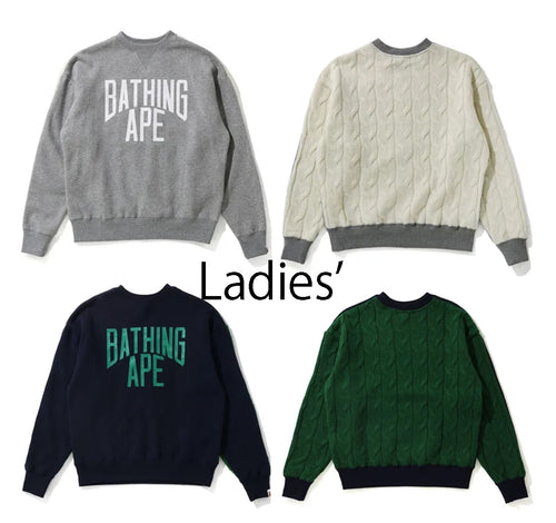 A BATHING APE Ladies' CABLE KNIT WIDE CREWNECK