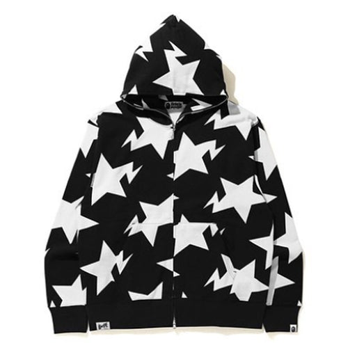 A BATHING APE RELAXED STA PATTERN FULL ZIP HOODIE