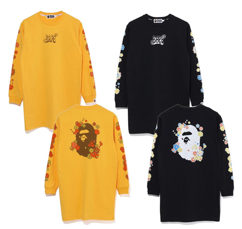 A BATHING APE LADIES' PIGMENT FLOWER APE HEAD L/S TEE ONEPIECE - happyjagabee store