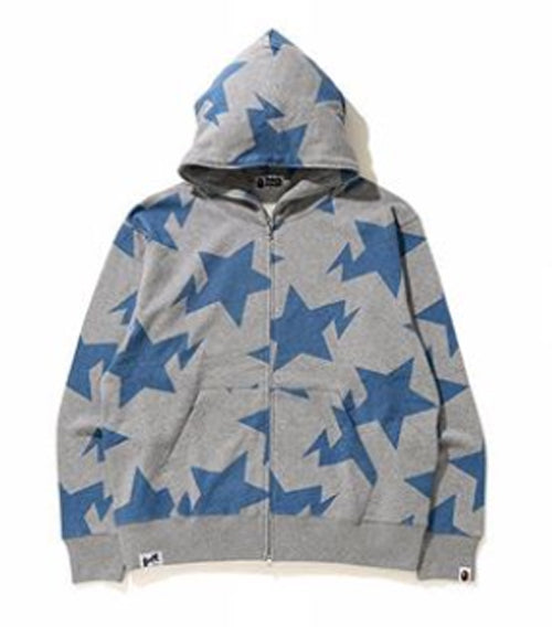 A BATHING APE RELAXED FIT STA PATTERN FULL ZIP HOODIE