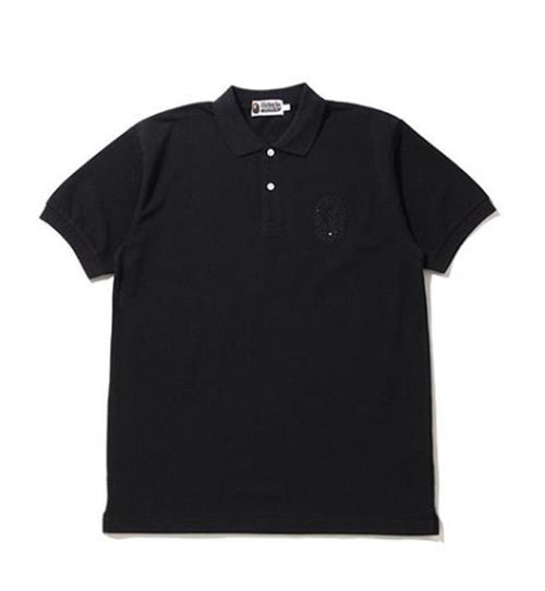 A BATHING APE CRYSTAL STONE LARGE APE HEAD POLO
