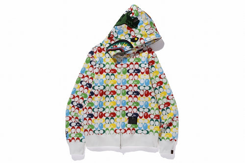 BAPE x COACH SHARK FULL ZIP HOODIE Multi - happyjagabee store