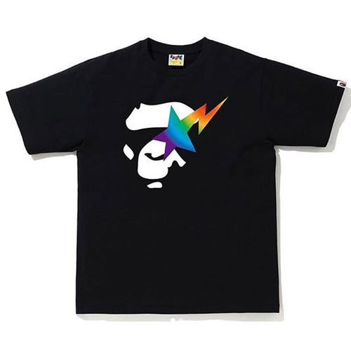 A BATHING APE RAINBOW APE FACE ON BAPE STA TEE