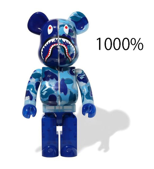 A BATHING APE CLEAR ABC CAMO SHARK BE@RBRICK BEARBRICK 1000% BLUE