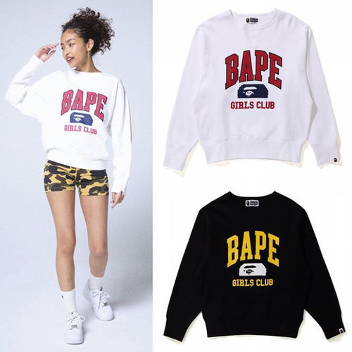 A BATHING APE Ladies' BAPE GIRLS CLUB WIDE FIT CREWNECK