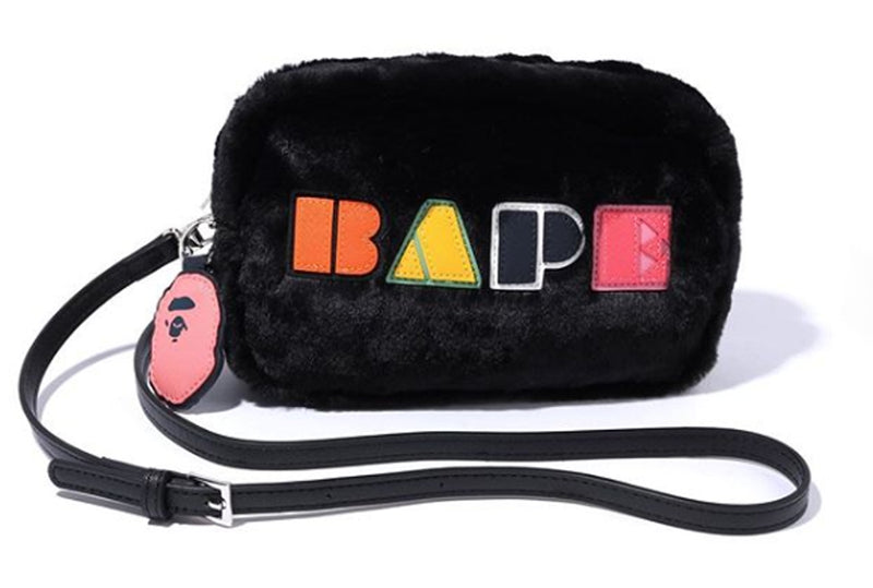 A BATHING APE LADIES' BAPE APPLIQUE BOA SHOULDER BAG - happyjagabee store