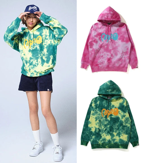 A BATHING APE Ladies' TIE DYE OVERSIZED PULLOVER HOODIE