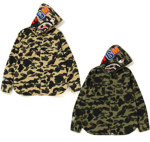A BATHING APE 1ST CAMO SHARK HOODIE SHIRT - happyjagabee store