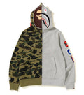 A BATHING APE 1ST CAMO 2ND APE SHARK HALF FULL ZIP HOODIE - happyjagabee store