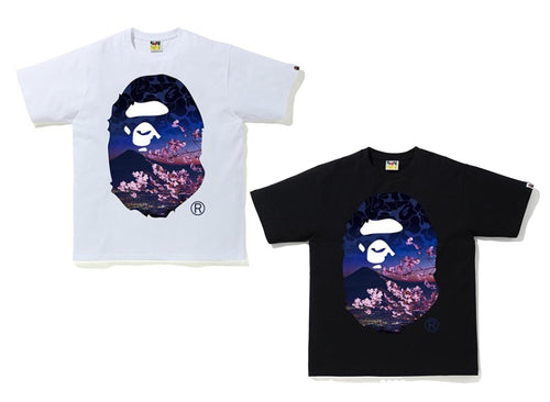 A BATHING APE SAKURA PHOTO APE HEAD TEE - happyjagabee store