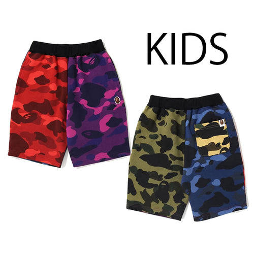 A BATHING APE BAPE KIDS MIX CAMO CRAZY SWEAT SHORTS
