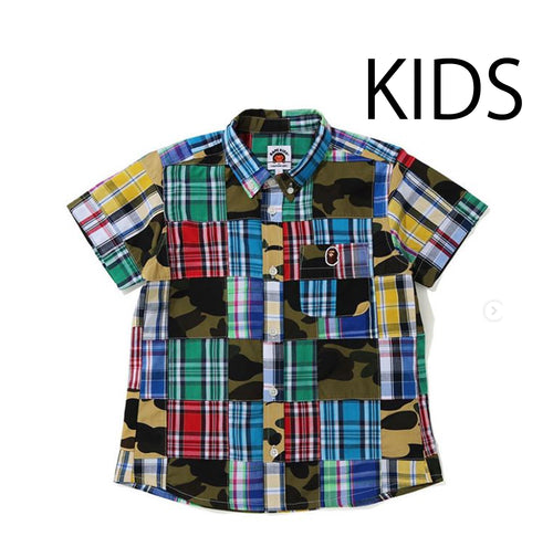 A BATHING APE BAPE KIDS PATCHWORK BD SHIRT