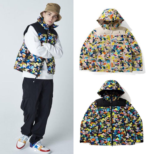 A BATHING APE MULTI CAMO DETACHABLE 3WAY DOWN JACKET