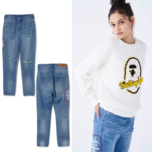 A BATHING APE LADIES' DAMAGED DENIM PANTS - happyjagabee store